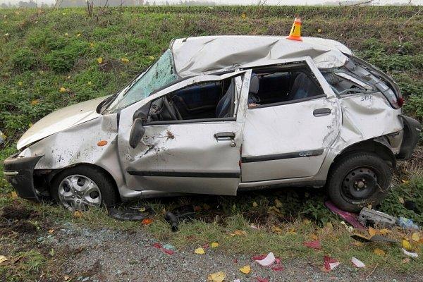 Nehoda Fiatu Punto mezi Lutínem a Hněvotínem