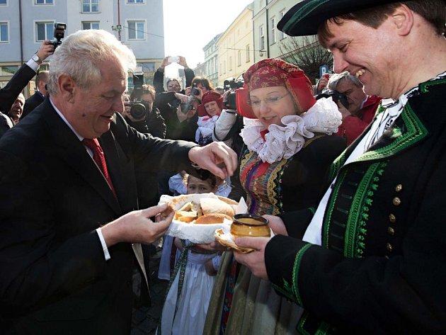 Prezident Zeman na litovelském náměstí