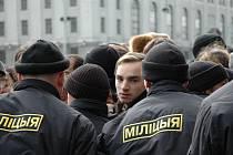 Snímek Kalinovského náměsti o pochybném průběhu voleb v Bělorusku.