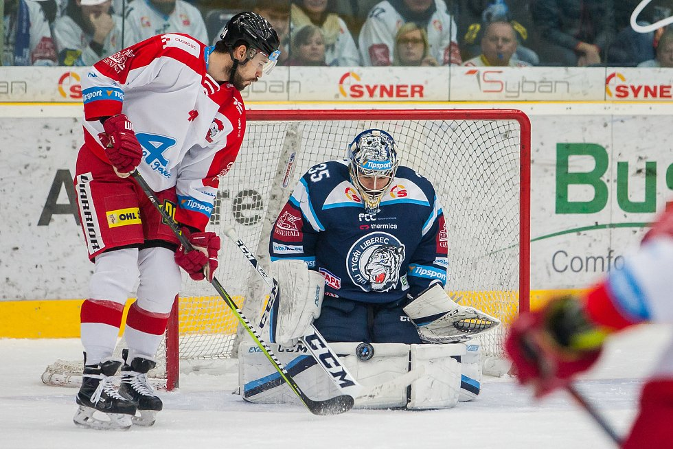 Bílí Tygři Liberec proti HC Olomouc. Vpravo je brankář Roman Will.