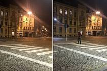 Náměstí hrdinů v Olomouci, po 21. hodině. Úterý 27. října (vlevo)  a ve středu 28. října (vpravo), kdy už platil nový zákaz nočního vycházení