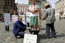 Protest hnutí Duha proti betonové koncepci nového územního plánu v Olomouci