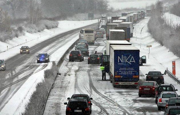 Zablokovaná R35 ve směru Olomouc - Lipník