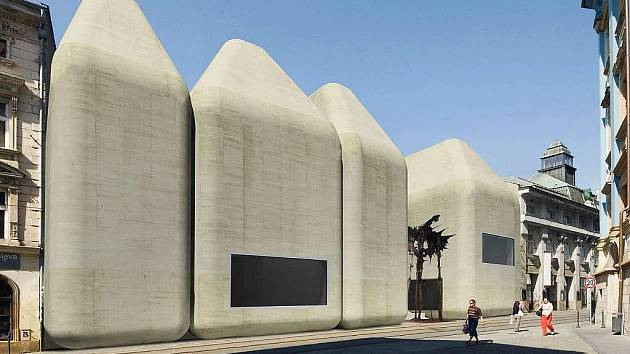 Vizualizace podoby Středoevropského fóra v Olomouci od architektů Jana Šépky a Václava Dernera z roku 2009