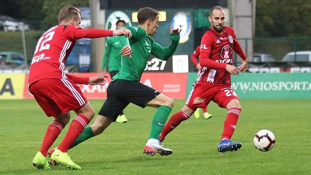 Příbram (v zeleném) proti Sigmě Olomouc