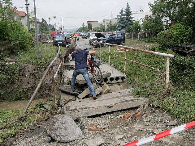 Následky záplav vHustopečích nad Bečvou