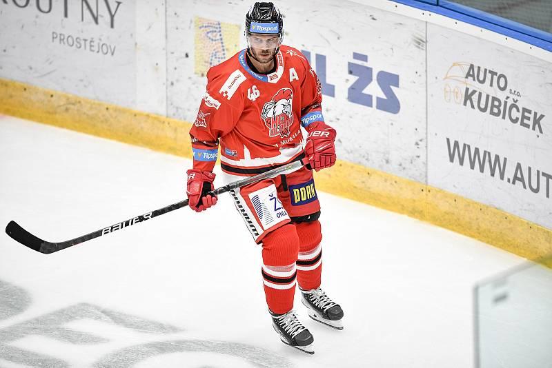 Utkání 1. kola hokejové extraligy: HC Olomouc - BK Mladá Boleslav, 10. září 2021 v Olomouci. David Krejčí z Olomouce.