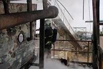 Požár třidiče štěrku v Březovém na Litovelsku
