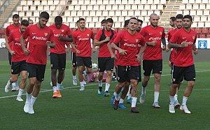 Trénink fotbalistů FC Sevilla před utkání s SK Sigma Olomouc