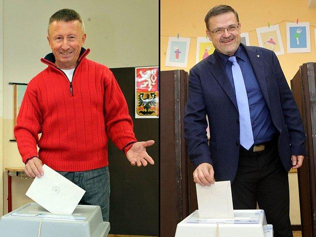 Kandidáti na senátora volí ve druhém kole: Milan Brázdil (vlevo) na ZŠ Stupkova vOlomouci, Lumír Kantor (vpravo) na ZŠ Helsinská vOlomouci