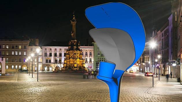 """Lampa """"plácačka"""" v koláži s Horním náměstím v Olomouci. Srovnání původního tvaru lampy (modře) a nového upraveného návrhu (šedě)"""