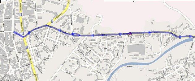Mapa chystané bezbariérové trasy na Lazce