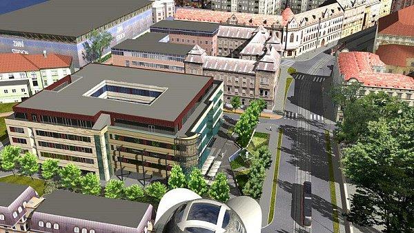Vizualizace nové polyfunkční budovy vHynaisově ulici