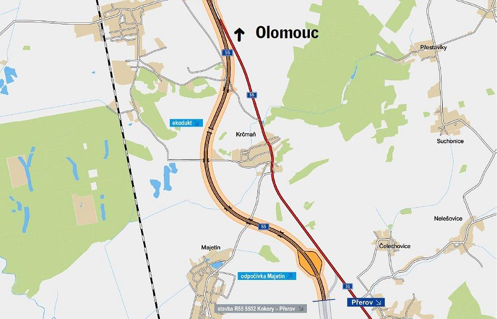 Plánovaný obchvat Krčmaně na R55 z Olomouce do Přerova