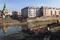 Základy nového mostu v Komenského ulici v Olomouci - polovina února 2019