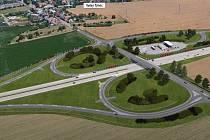 Vizualizace dálnice D55 Olomouc - Kokory. Křížení se silnicí Velký Týnec - Grygov