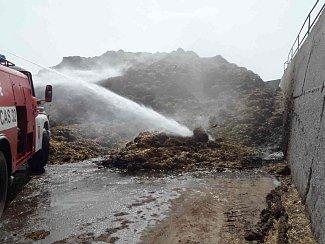 Požár určického hnojiště