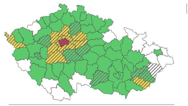 Na mapě regionů ČR podle rizika nákazy Covid -19, takzvaném semaforu, jsou od pátku vzelené všechny okresy Olomouckého kraje kromě Jesenicka.