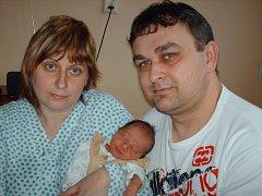Šimon Kolář, Šternberk, narozen 9. února ve Šternberku, míra 46 cm, váha 2850 g