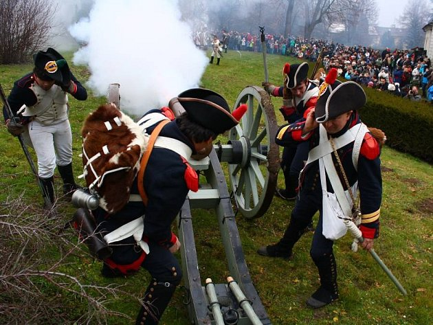 Ukázka střetnutí z napoleonských válek u zámku v Náměšti na Hané