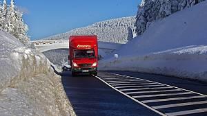 Silnice přes Červenohorské sedlo 21. ledna 2019