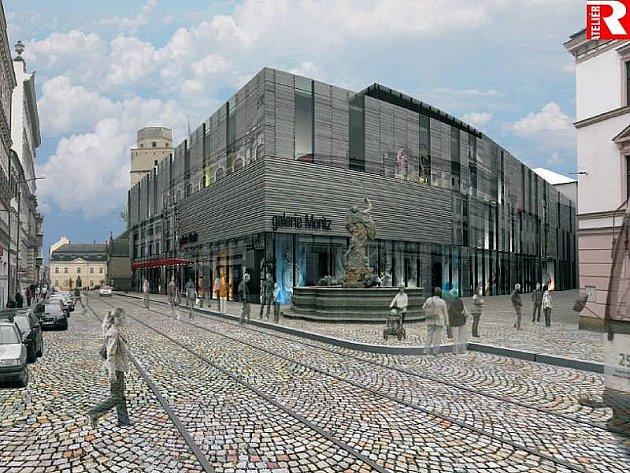Vizualizace nové podoby Prioru se zastřešenou tramvajovou zastávkou