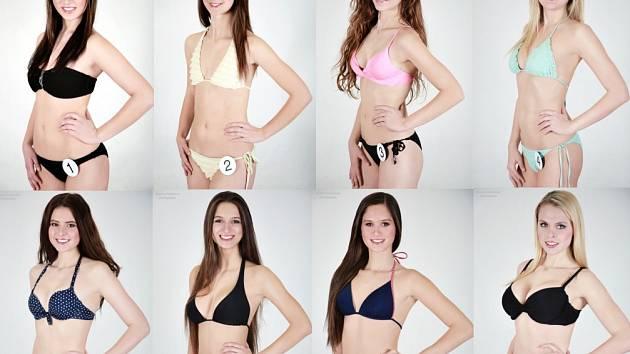 Osm z dvanácti finalistek soutěže Miss OK