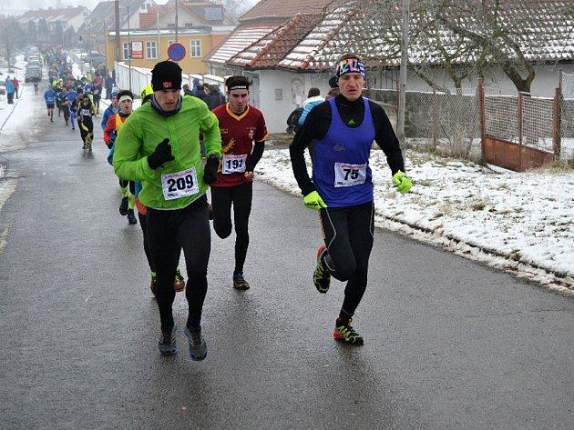 Běžecký peleton krátce po startu, v čele pozdější vítěz Hrdina (č. 209)