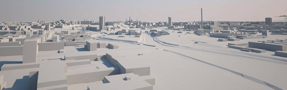 Nadhled od Nových Sadů. Šantovka Tower na modelu Klubu architektů Olomoucka: