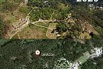 Umístění Lanáčku v zoo na Sv. Kopečku - v roce 2015 a nyní po obnově po škodách způsobených vichřicí Eberhard a kůrovcem