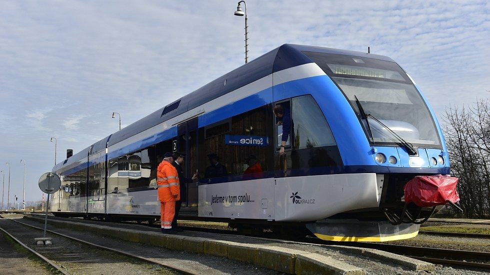 První jízda jednotky Stadler na trati Olomouc-Drahanovice, 17. 2. 2020
