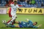 Utkání 19. kola první fotbalové ligy: Baník Ostrava - Sigma Olomouc, 14. prosince 2018 v Ostravě. Na snímku (zleva) Dame Diop a brankář Olomouce Miloš Buchta.