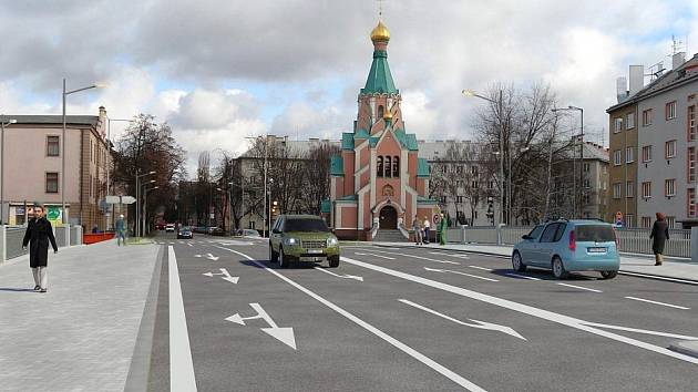 Vizualizace nového mostu na Komenského