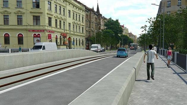 Původní návrh nového mostu na Masarykově třídě