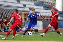 Olomoučtí fotbalisté (v modrém) porazili v přípravě Bielsko-Biala 3:1  Lukáš Buchvaldek (v modrém)