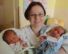 Daniel a Sandra Henzelovi, narozeni 17. února v Olomouci, míra 48 cm a 49 cm, váha 3080 g a 2990 g.