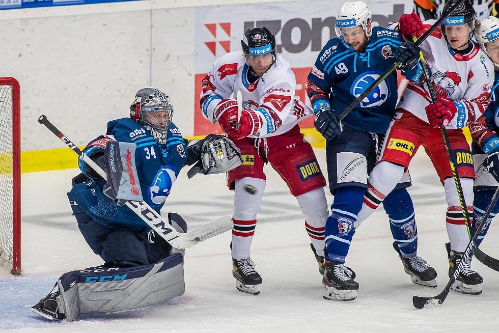 První zápas předkola play-off extraligy mezi Plzní a Olomoucí.