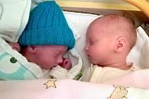 Ludovit a Anežka Kohoutovi, Postřelmov, narozeni 23. prosince v Olomouci, váha 1370 g a 2870 g