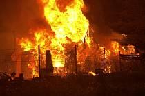 Požár zahradních chatek v Pavlovičkách