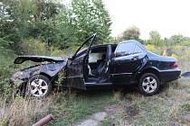 Havárie mercedesu v Keplerově ulici v Olomouci