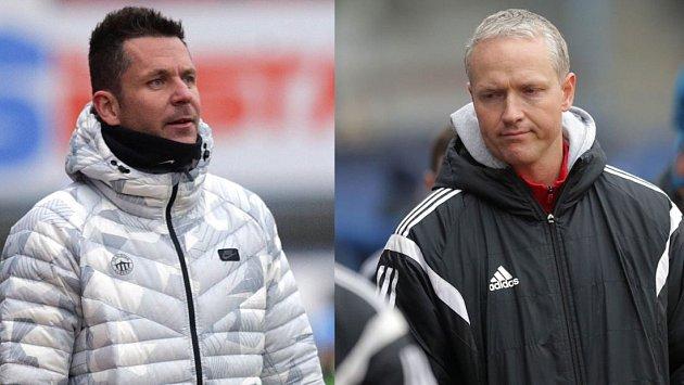 Trenér Slovanu Liberec David Holoubek (vlevo) a trenér Sigmy Olomouc Václav Jílek