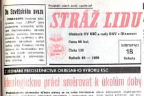 Obdeník olomouckého okresního výboru KSČ Stráž lidu zaregistroval převratné události až 23. listopadu.