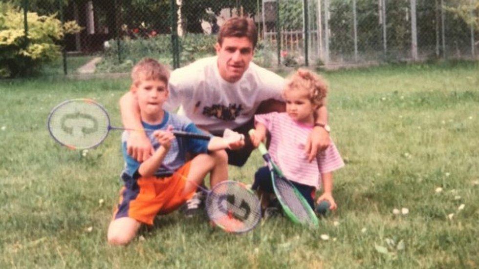 Karolína Muchová s tátou Josefem a bratrem Filipem