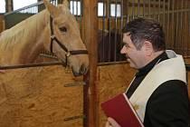 Probošt chrámu sv. Mořice František Hanáček při žehnání koní v jezdeckém klubu v Hlubočkách