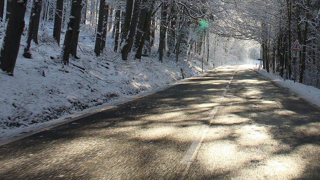 Zasněžené Hanušovicko 1. prosince ráno.
