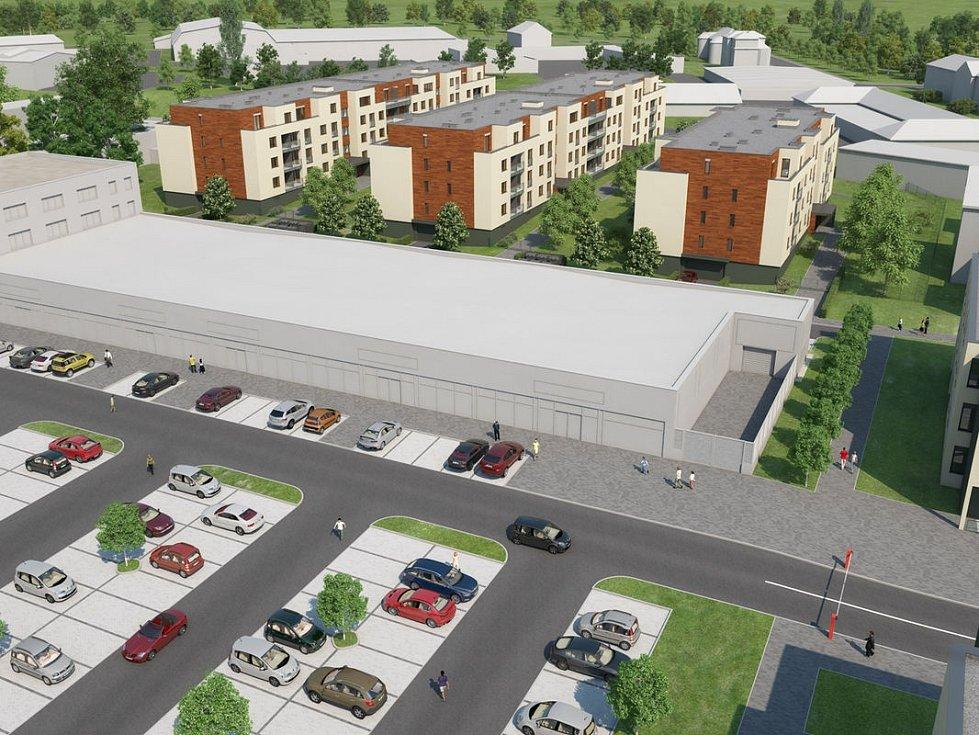 Byty Šibeník. Vizualizace projektu 180 bytů na místě bývalého podniku AOZ v Olomouci, počítá se i s nákupním centrem