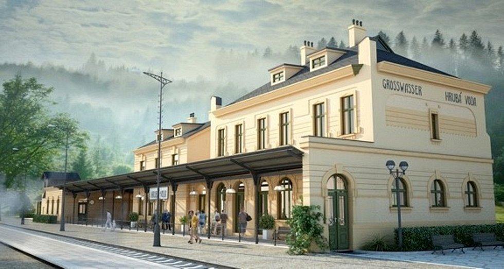 Vizualizace nádraží v Hrubé Vodě po obnově