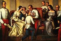 Císař Ferdinand Dobrotivý předává vládu svému synovci Františku Josefu I. Obraz vytvořil v roce 1876 český malíř František Čermák