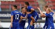 euro pohár SK Sigma - FC Kairat Almaty. Martin Sladký, Václav Pilař, Václav Jemelka radost