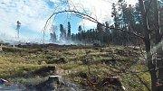 Požár mýtiny u Zlatých Hor